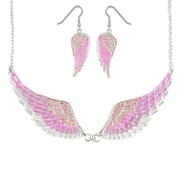 SK2238B Combo Set  Pink Painted Winged Leverback Earring  +  Pink Painted Winged Necklace  Pink Imitation Crystal