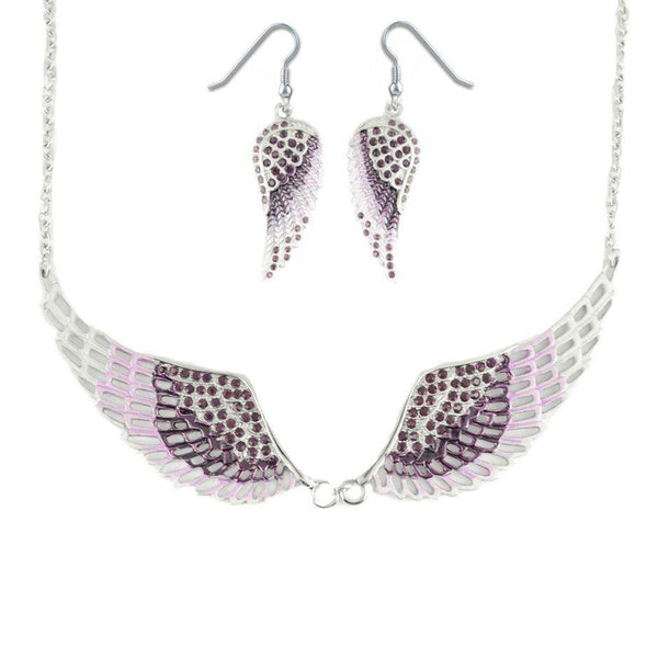 SK2239B Combo Set Purple Painted Winged Leverback Earring + Purple Painted Winged Necklace Purple Imitation Crystals