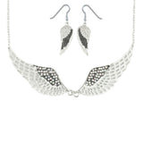 SK2240B Combo Set  Black Painted Winged Leverback Earring  +  White Painted Winged Necklace White Imitation Crystals