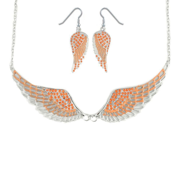 SK2241B Combo Set  Orange Painted Winged Leverback Earring  +  Orange Painted Winged Necklace Orange Imitation Crystal