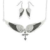 SK2242B Combo Set  Black Painted Winged Leverback Earring  +  Black Painted Winged Cross Necklace White Imitation Crystals