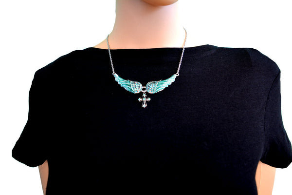 SK2244 Small Sea Foam Green Painted Winged Necklace With Cross White Imitation Crystals