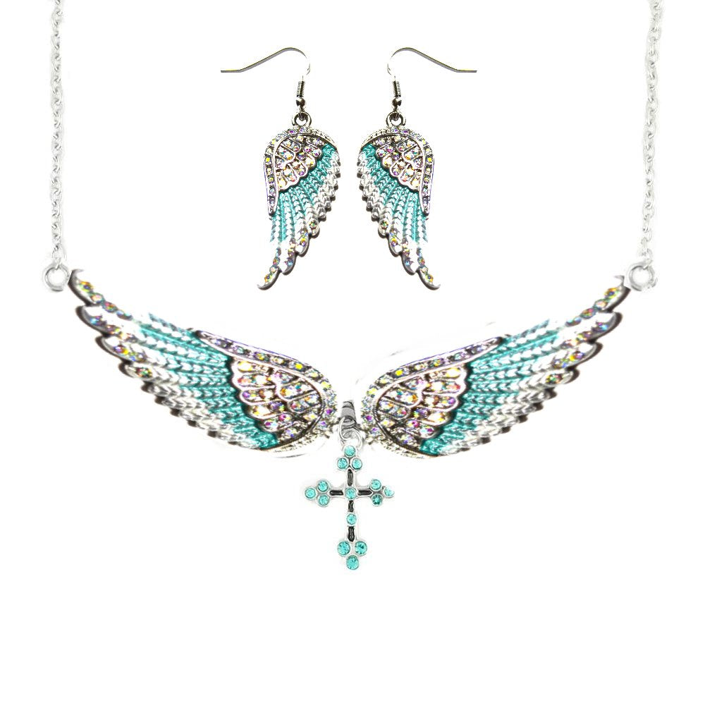 SK2244B Combo Set Feafoam Painted Winged Leverback Earring + Seafoam Painted Winged Cross Necklace White Imitation Iridescence Crystals