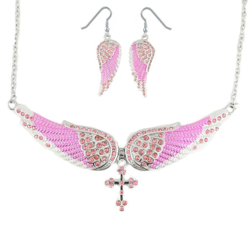 SK2245B Combo Set  Pink Painted Winged Leverback Earring  +  Pink Painted Winged Cross Necklace  Pink Imitation Crystal