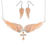 SK2246B Combo Set  Orange Painted Winged Leverback Earring  +  Orange Painted Winged Necklace  Orange Imitation Crystal
