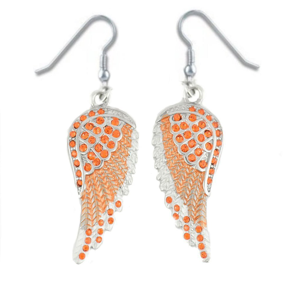 SK2248 Orange Painted Winged French Wire Earring Orange Imitation Crystals