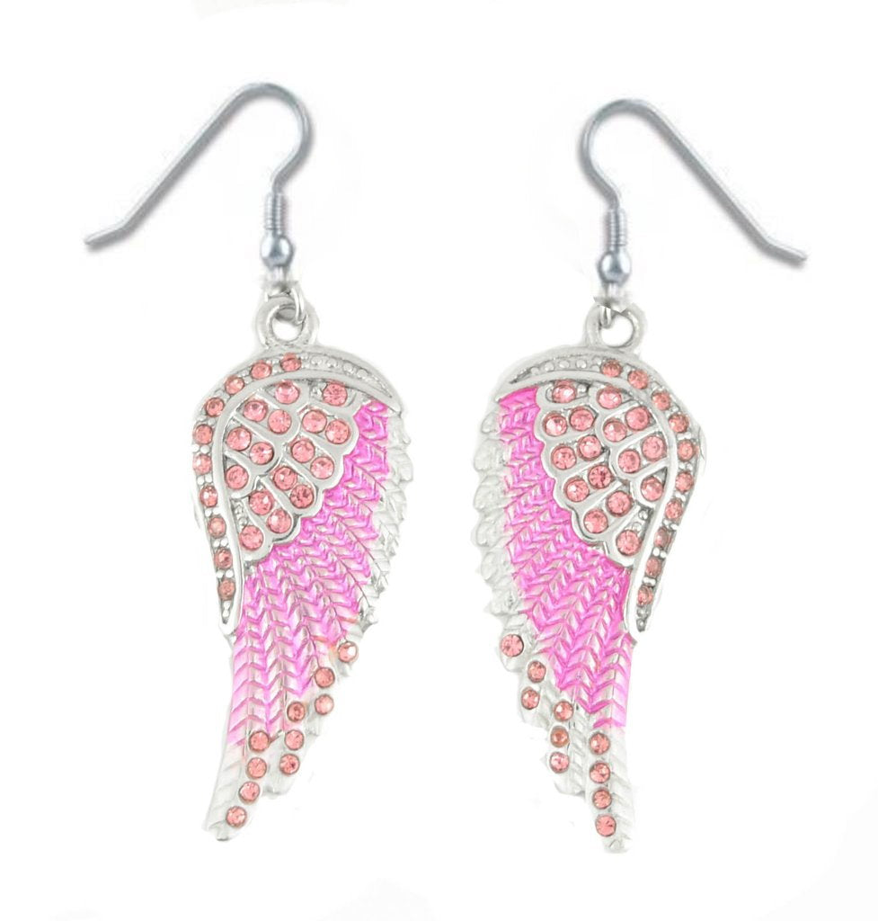 SK2249 Pink Painted Winged Leverback Earring Pink Imitation Crystals