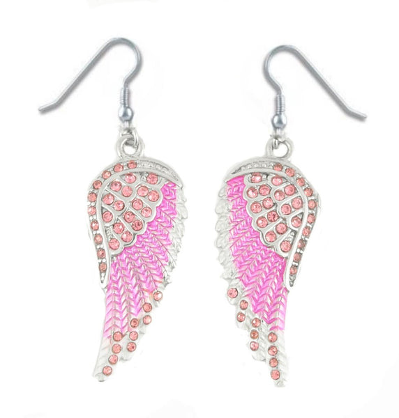 SK2249 Pink Painted Winged French Wire Earring Pink Imitation Crystals