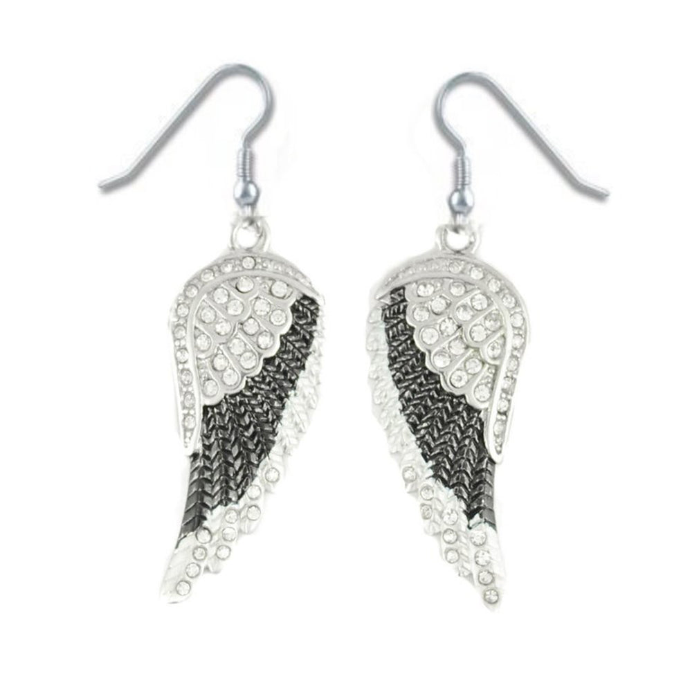 SK2250 Black Painted Winged French Wire Earring White Imitation Crystals