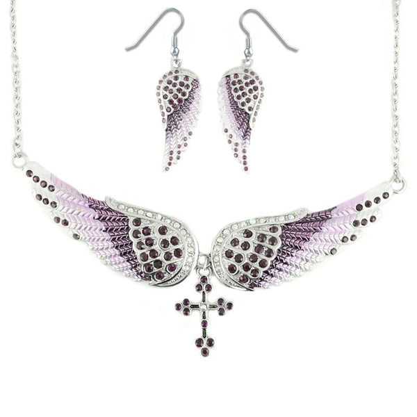 SK2251B Combo Set  Purple Painted Winged Leverback Earring + Purple Painted Winged Necklace Purple Imitation Crystals