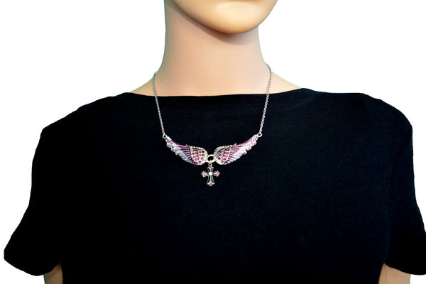 SK2251 Small Purple Painted Winged Necklace With Cross Purple Imitation Crystals