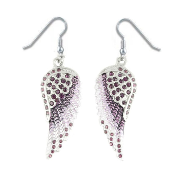 SK2252 Purple Painted Winged French Wire Earring Purple Imitation Crystals