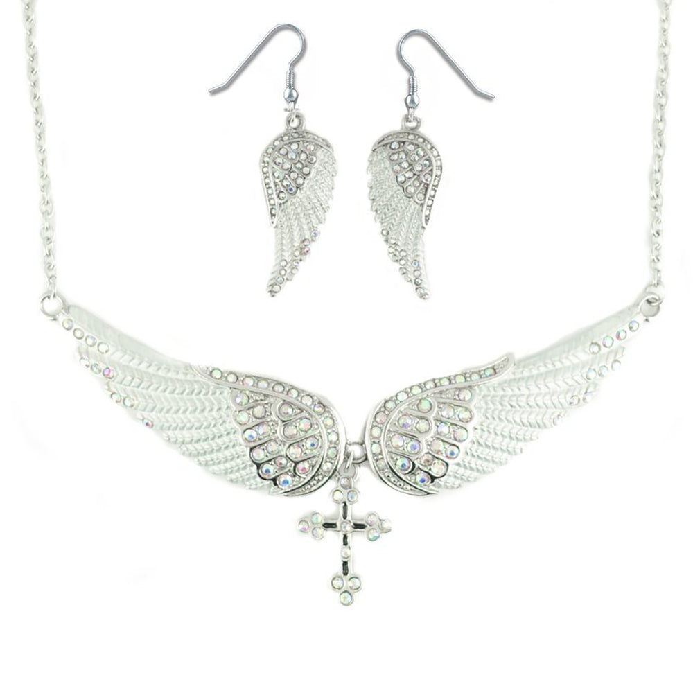 SK2253B Combo Set  White Painted Winged Leverback Earring  +  White Painted Winged Necklace White Imitation Crystals