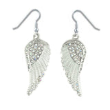 SK2254 White Painted Winged French Wire Earring White Imitation Crystals