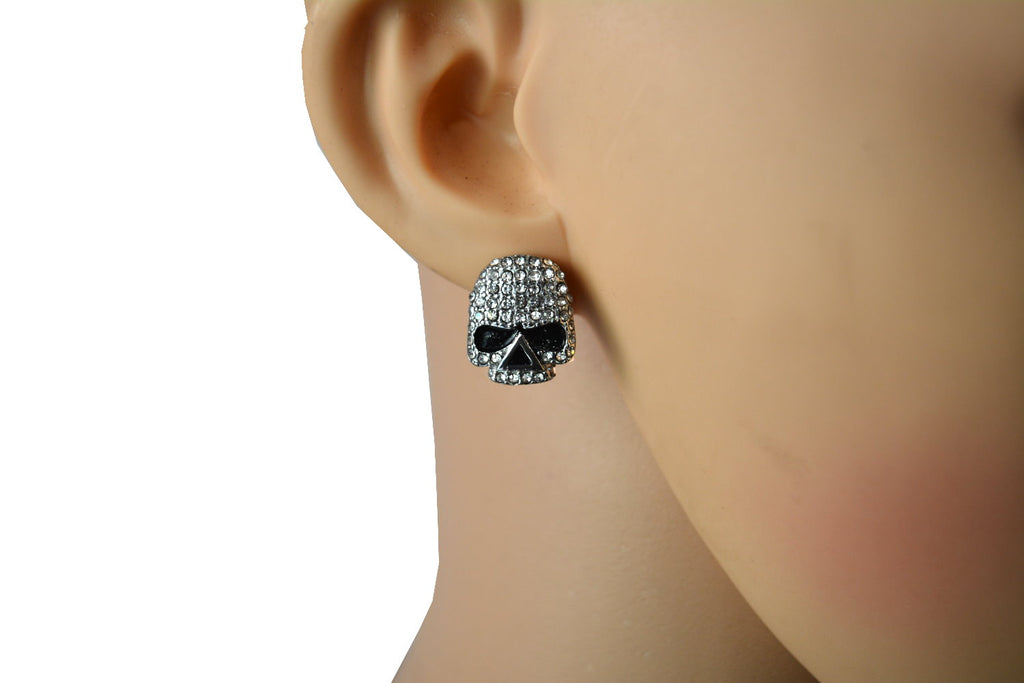 "SK2356 Earrings Stainless Steel Skull Embellished Imitation Diamonds Post & Nut  5/8"" Tall"