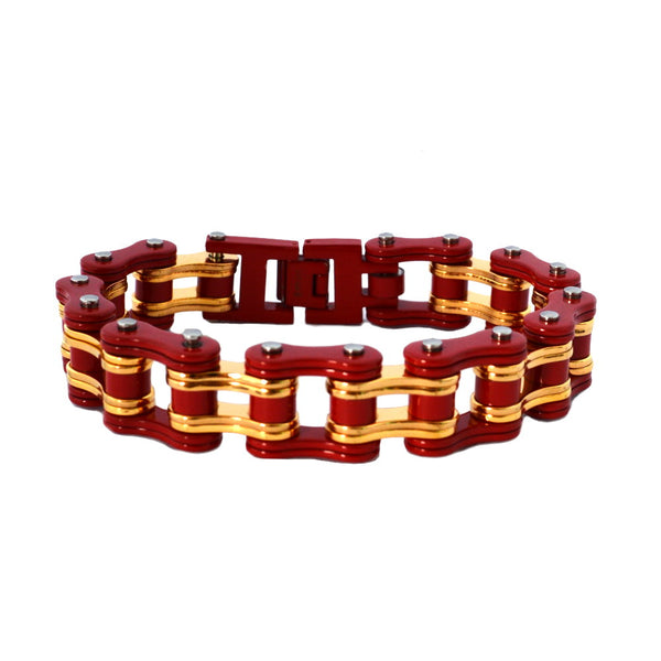 "SK2259 Two Tone 3/4"" Wide Red Gold Tone Unisex Stainless Steel Motorcycle Chain Bracelet"