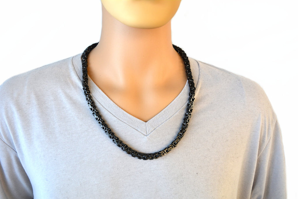 "SK2269 Necklace Gunmetal 7 mm Byzantine 26"" Stainless Steel"