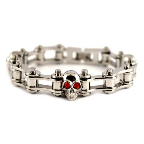 SK2271 1/2 Wide All Silver Red Stones Size: 7.25""