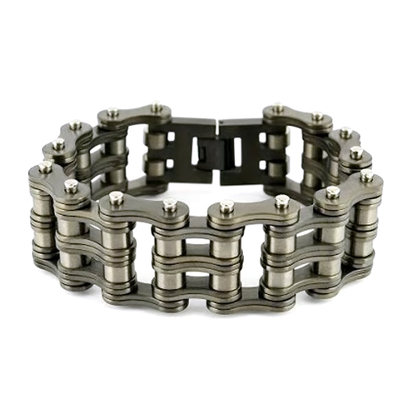 "SK2277 1"" Wide All New Gunmetal Finish Stainless Steel Motorcycle Chain Bracelet"