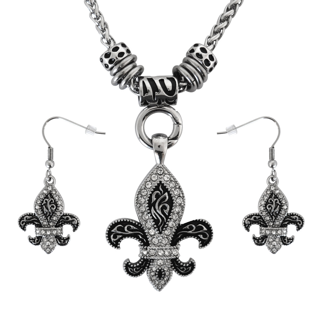 SK2278B Fleur De Lis Ladies Charm Pendant & Matching Earrings Stainless Steel Motorcycle Jewelry $45.00