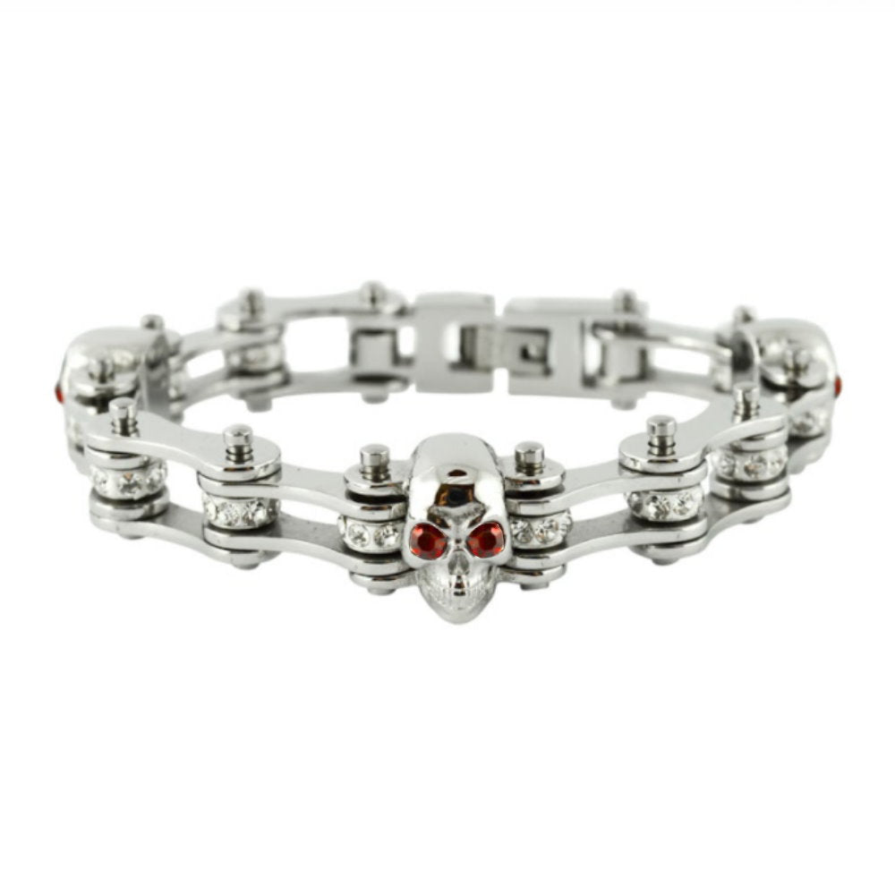 SK2284 Ladies Bike Chain Bracelet Crystal Rollers Imitation Rubies 3 Skulls 7.25""