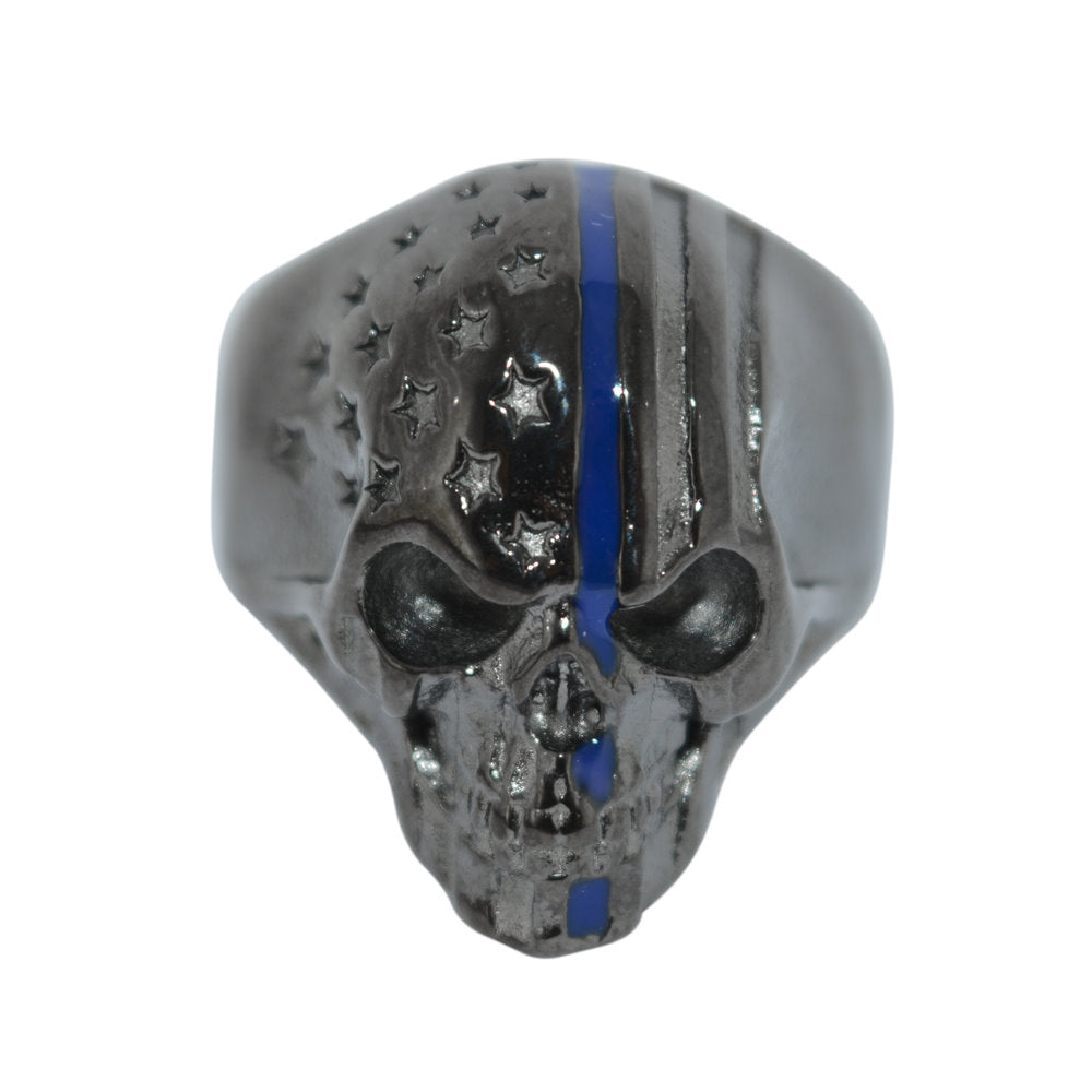 SK2305 Black Skull Ring Police Special Thin Blue Line Stainless Steel American Flag Patriot