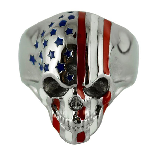SK2299 American Flag Ring Stainless Steel Enameled Red White Blue Stars