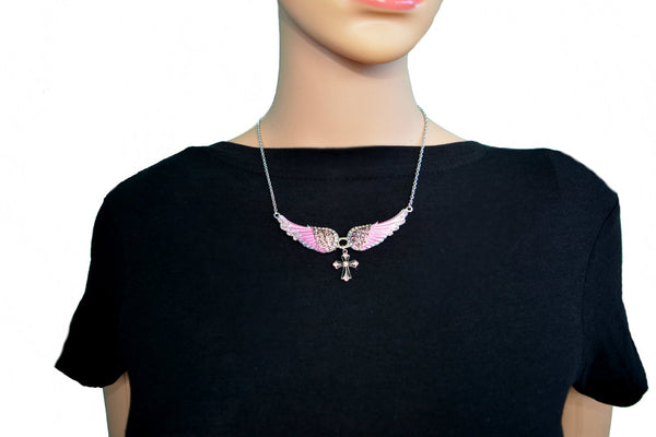 SK2245 Small Pink Painted Winged Necklace With Cross Pink Imitation Crystals