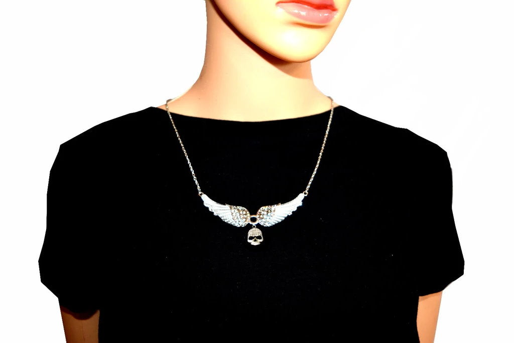 SK2307 Small White Painted Winged Necklace With Skull Iridescent Imitation Crystals