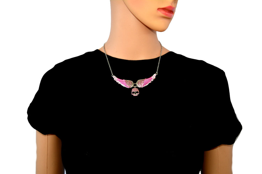 SK2308 Small Pink Painted Winged Necklace With Skull Pink Imitation Crystals