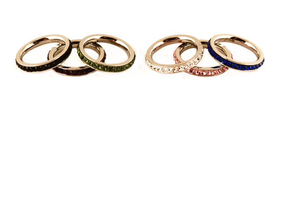 SK2310 Ladies Single Row Stone Ring Stainless Steel Red Blue Black White Green Pink Purple 5-10