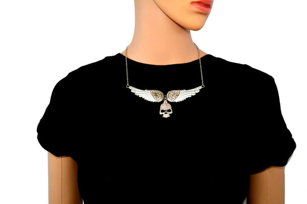 SK2311 Large White Painted Winged Necklace With Skull Iridescent Imitation Crystals