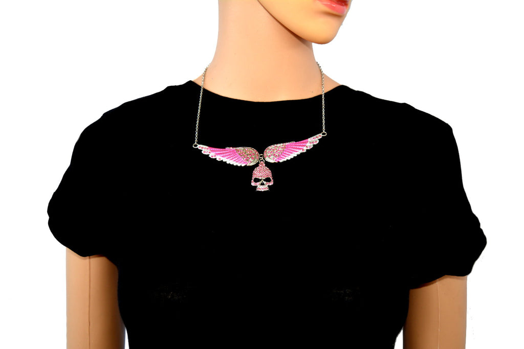 SK2312 Large Pink Painted Winged Necklace With Skull Pink Imitation Crystals