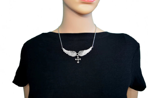 SK2324 Small White Painted Winged Necklace With Cross Pink Imitation Crystals
