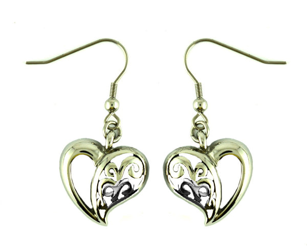 SK2330 Heart Earrings Stainless Steel French Wire