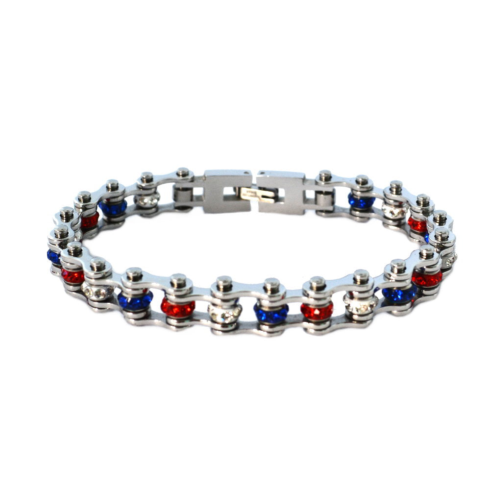 "SK2342 3/8"" Wide MINI MINI SIZE All Stainless With Red White Blue Crystal Centers Stainless Steel Motorcycle Bike Chain Bracelet"
