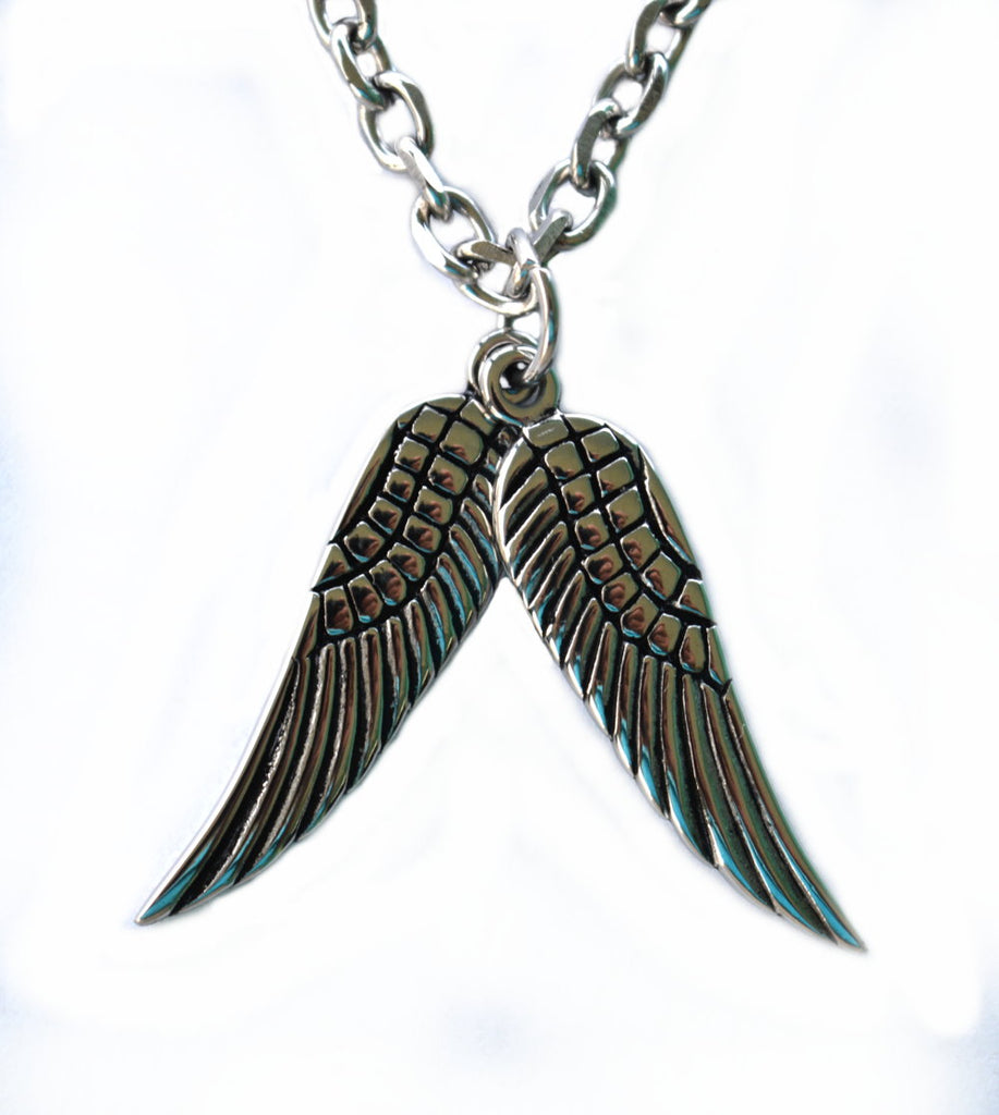 "SK2351 Double Wing Pendant With 26"" Link Chain Stainless Steel"
