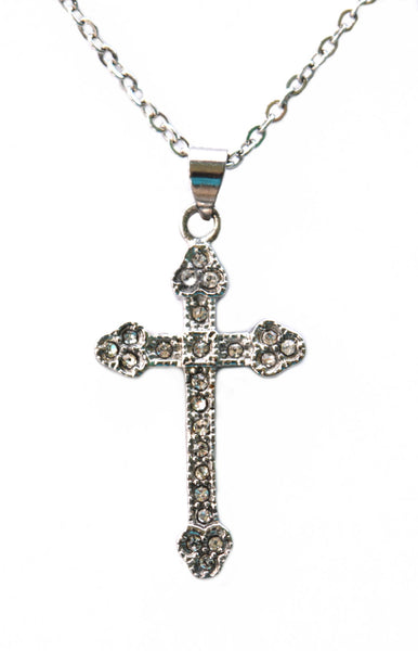 "SK2344 Cross Pendant Imitation Diamonds With 19 1/2"" Link Chain Stainless Steel"
