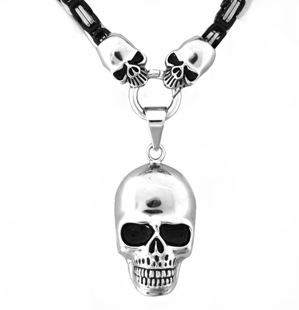 SK2353 Byzantine Necklace 7 mm With Skull Pendant  19 1/2""