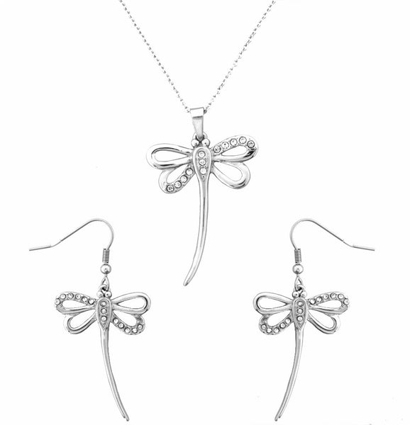 "SK2345 Dragonfly Pendant 19"" Chain & Earrings Imitation Diamonds Stainless Steel"