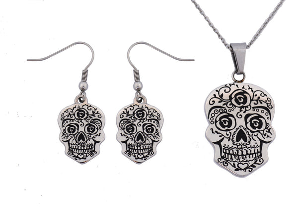SK2355 Sugar Skull Pendant Matching Earrings With Omega Necklace Stainless Steel Jewelry