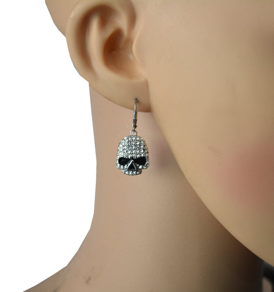 "SK2357 Earrings Stainless Steel Skull Embellished Imitation Diamonds Lever Back 5/8"" Tall"