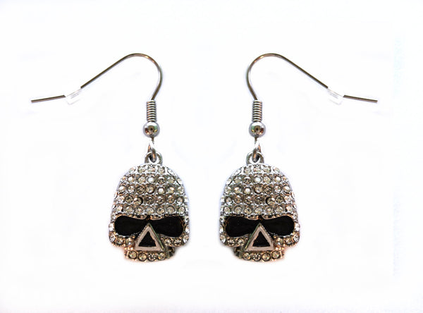 "SK2358 Earrings Stainless Steel Skull Embellished Imitation Diamonds French Wire 5/8"" Tall"