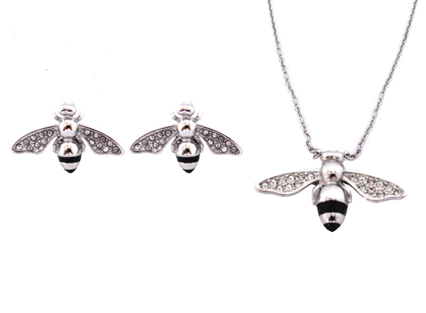 SK2359 Bee Pendant Matching Earrings With Omega Necklace Stainless Steel Jewelry
