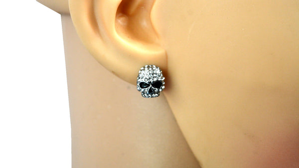 "SK2362 Small Earrings Stainless Steel Skull Embellished Imitation Diamonds Post & Nut  7/16"" Tall"