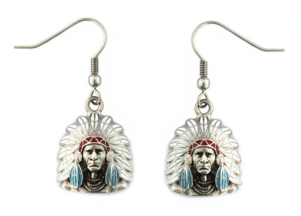 SK2364 Indian Headdress Bust Earrings Stainless Steel Red White Blue