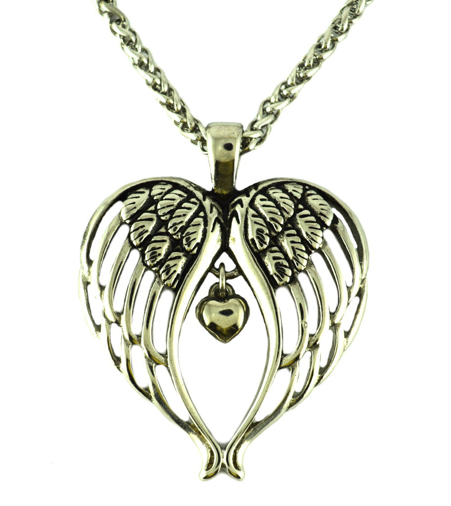 "SK2370 Winged Heart Pendant Stainless Steel With 24"" Necklace"