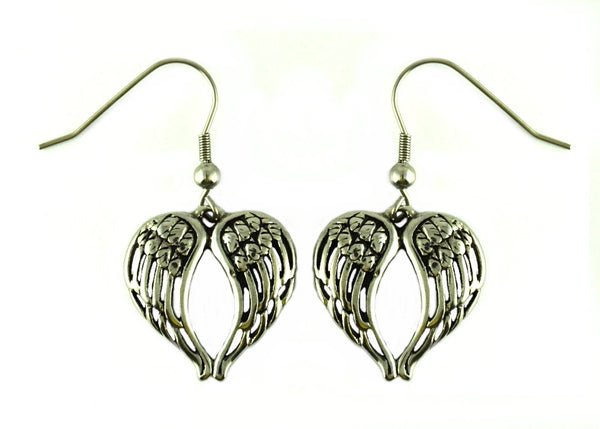 SK2390 Winged Heart Stainless Steel Earrings