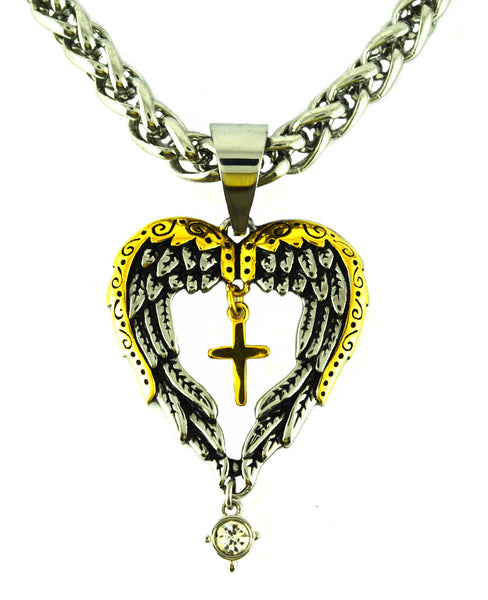 "SK2392 Winged Heart Cross Imitation Diamond Pendant With 24"" Chain"