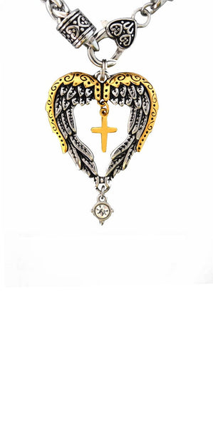 "SK2393 Winged Heart Cross Imitation Diamond Pendant With 18 1/2"" Foxtail Chain"